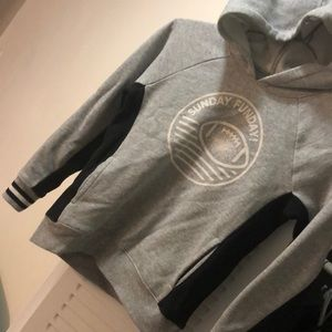 Boy gray and black hooded sweat shirt
